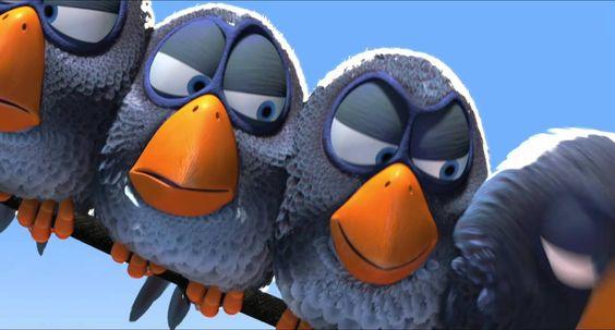 los pájaros, los cables de la luz, son antipáticos, se paran, están desplumados/desnudos