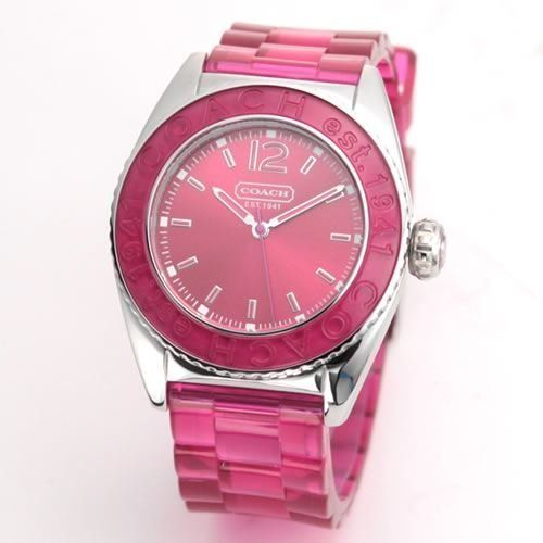 Coach Women's Boyfriend Style Watch 14501419 Andee Hot Pink Jelly Strap Stainless Steel Case Hot Pink Bezel Coach. $129.99