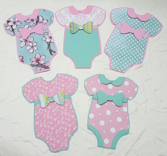 Baby girl onesie cut outs 10 pc 3d onesie paper crafts for Room decor embellishment art 3d