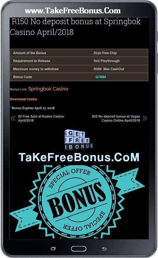 R150 No Deposit Bonus At Springbok Casino April 2018