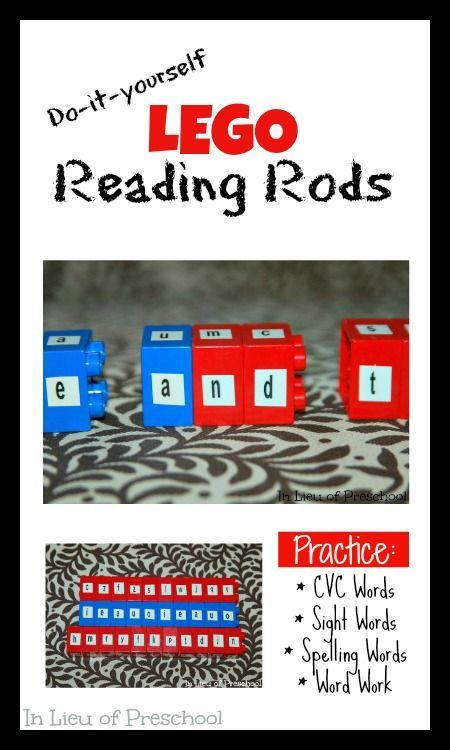 DIY Lego Reading Rods made from Duplo Blocks - In Lieu of Preschool