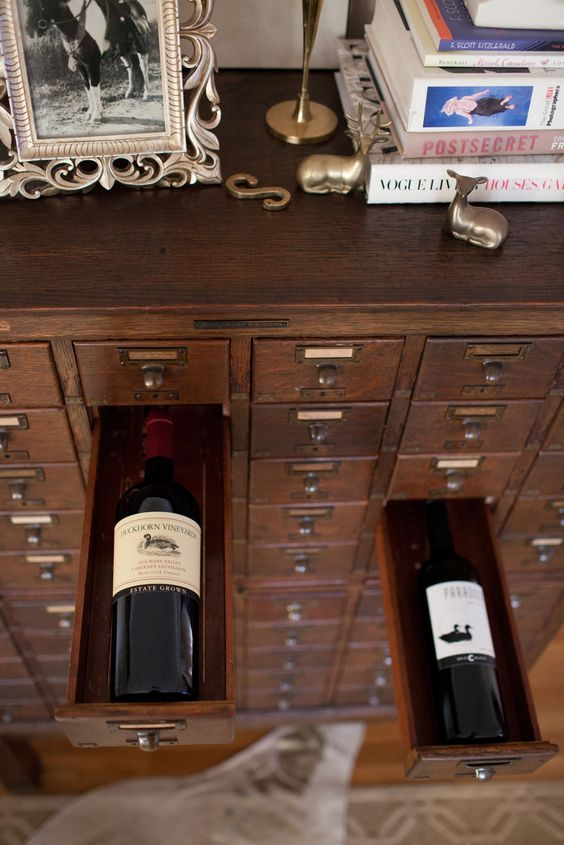 A subversive use for a vintage card catalogue as wine bottle storage. Love this upcycling idea!: