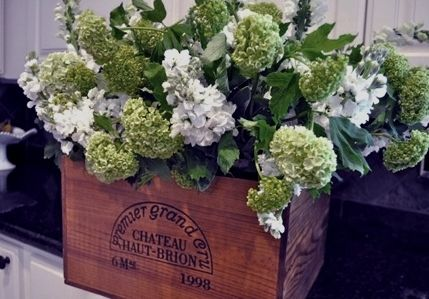 Fun idea for the front entry to the reception. Florals In Wine Crate, Vineyard Themed Wedding
