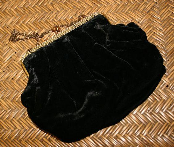 Vintage Handmade Black Velvet Evening Bag by gillardmay2011, £25.00
