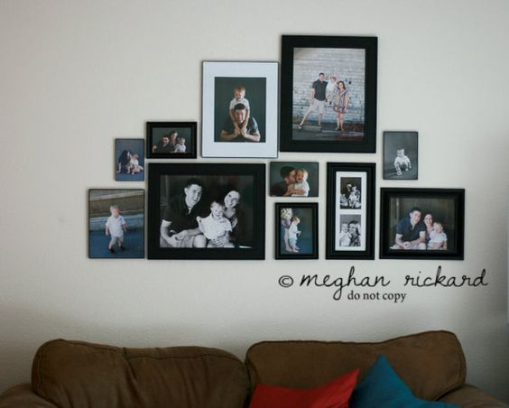 Love this wall photo collage!! Finally found one I would actually do on our wall!