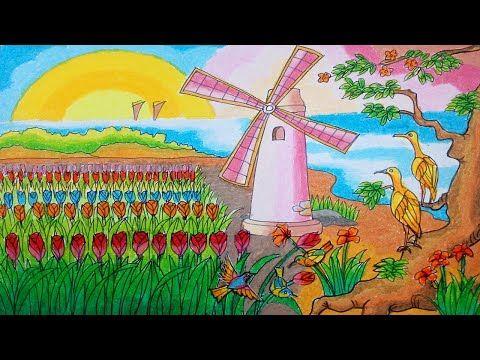 Cara Menggambar Kebun Tulip Dan Kincir Angin Dengan Crayon Oil