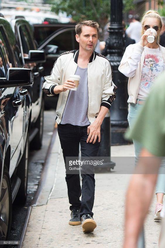 Musician Matt Bellamy (L) and model Elle Evans are seen in Tribeca on July 23, 2017 in New York City.
