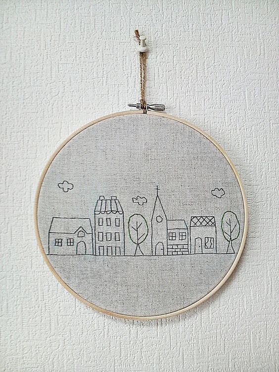 Hand embroidery in hoop wall art house