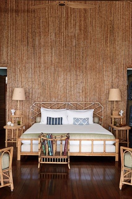 Bedroom. Discover a redesigned bamboo house on the Caribbean island of Mustique on HOUSE - design, food and travel by House & Garden.
