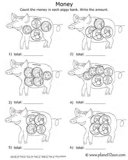 Free printable black & white worksheet. Adding Coins in the piggy ...