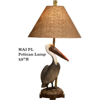 strongPelican Lamp/strongbr / �A realistic looking Pelican decorates this lamps base.  Bring a touch of the outdoors into your home with this truly unique coastal lamp.   br /br / Pelican Lamp 32
