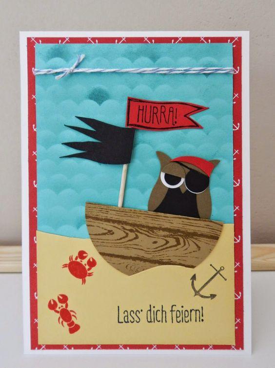 Stampin´Up! Geburtstagskarte für kleine Piraten mit der Eulenstanze und dem Hardwood Stempel! :)