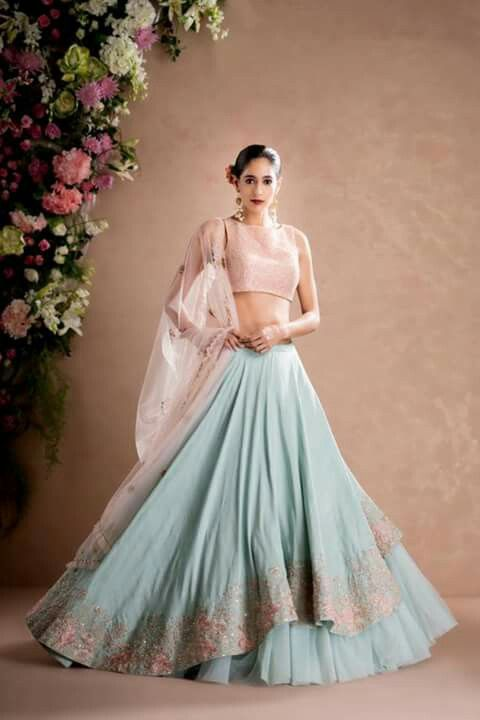Indian Lehenga Choli Designs For Wedding Stunning blue attire by Manish Malhotra