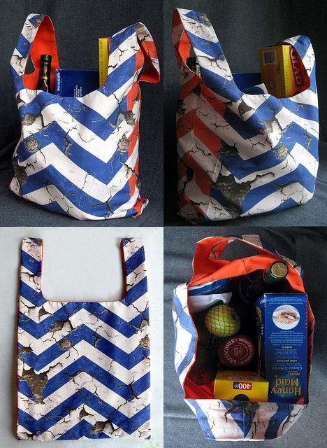 Rad cut & sew grocery bag pattern in Muddyfoot's Blue and Orange Paint Peel Chevrons www.spoonflower.com/fabric/1048680