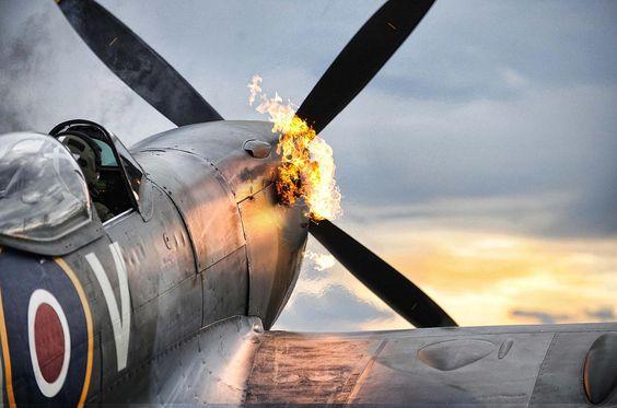 A beautiful shot of a Supermarine Spitfire starting it's Rolls-Royce Merlin engine.