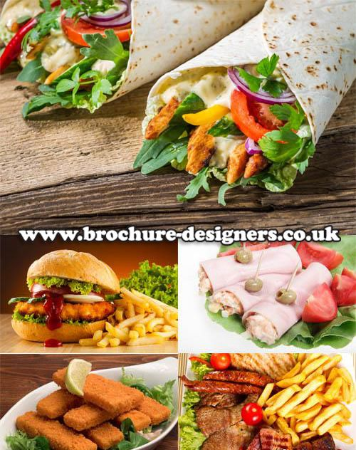 delicious healthy fast food images suitable for takeaway trifold - food brochure
