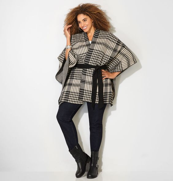 Shop ruanas to add to your fall wardrobe like this chic plus size Plaid Belted…