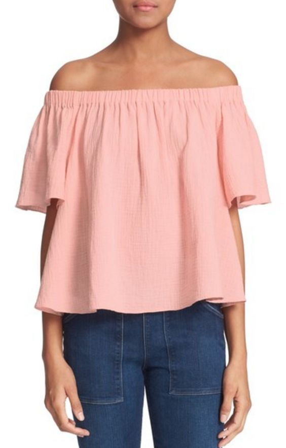 Peach Off-the-Shoulder Cotton Top