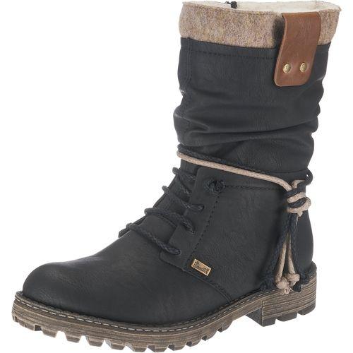 #RIEKER #Damen #Stiefel #schwarz Diese wasserdichten rieker Stiefeletten bestehen aus glattem Kunstleder und sind mit einer stabilen Laufsohle mit rutschhemmendem Profil ausgestattet. Das absolute Komforthighlight ist das wärmende Futter aus weicher Schurwolle.