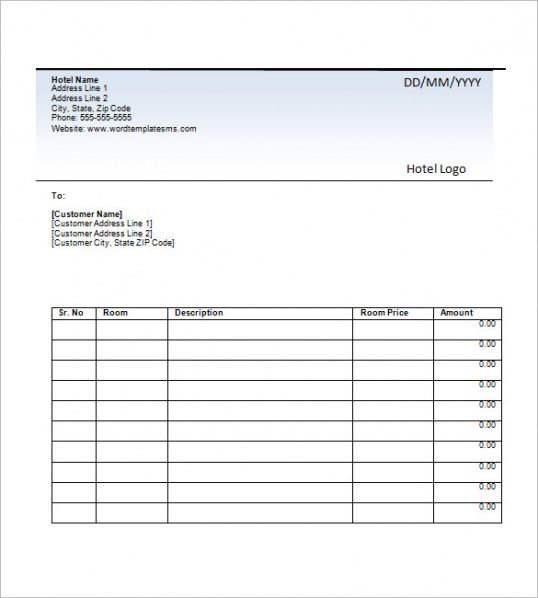 Browse Our Image Of Hotel Billing Invoice Template For Free Invoice Template Invoice Template Word Invoice Format In Excel