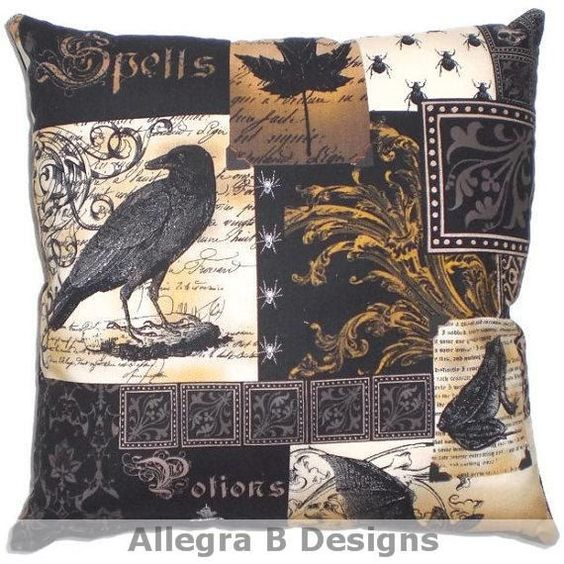 gothic raven pillow victorian steampunk home decor on etsy idea maybe more. Black Bedroom Furniture Sets. Home Design Ideas