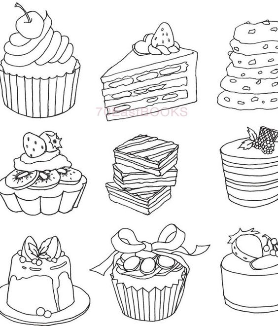 only bakery coloring book for adult food cake desert cooking bread  my own bakery colouring Bakery Coloring Pages for Adults  Coloring Pages Bakery