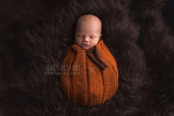 Newborn Pumpkin Pouch  Photo Prop  Handmade  by TeenyTinyProps