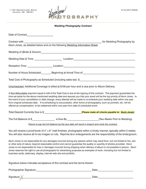 Free Photography Contract Written by a Lawyer More interested in - professional photographer resume