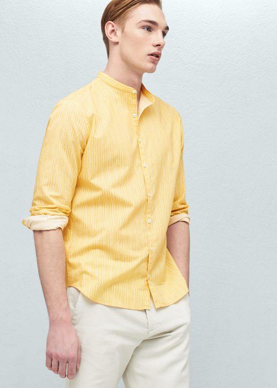 Slim fit-hemd mit mao-kragen - Hemden für Herren | MANGO Man Österreich