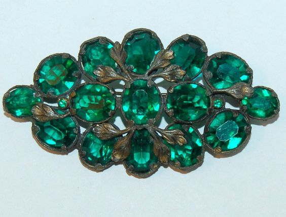 Medieval style 20's crystal statement brooch, unusual Woodland pin of gilded bronze leaves and tine set faceted green glass & rhinestones by BetseysBeauties on Etsy