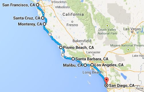 Pacific Coast Highway Road Trip - I did this trip (highway 101), in 1999, with a slight variation on stops, and 2 overnights.  Best done starting in SF, rather than SD, for the views of the coast, cliffs, beaches etc.  if you have a convertible this would be even more amazing.