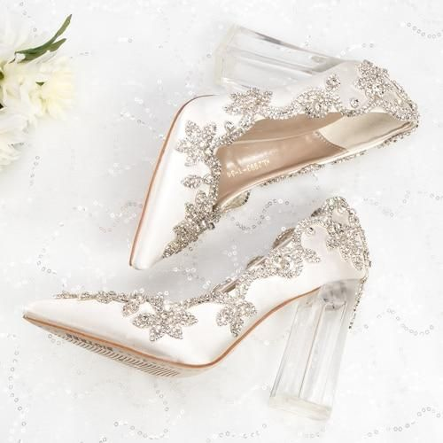 Wedding Shoes Bride Clear Heels Crystal Pumps Christmas Day Evening Party Luxury Queen Wedding Shoes Bride Crystal Wedding Shoes Wedding Shoes