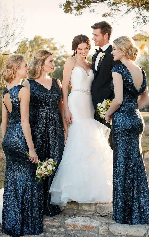 46 Gorgeous Starry Night Wedding Ideas Midnight Blue Bridesmaid Dresses Sequin Bridesmaid Sequin Bridesmaid Dresses