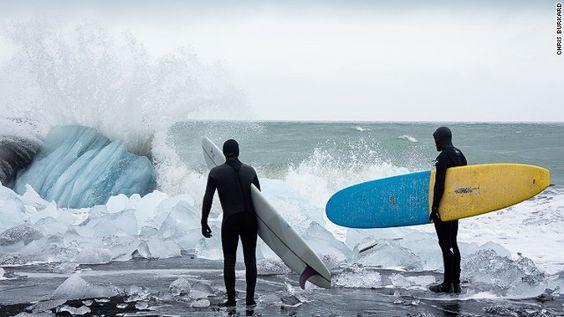 Arctic surfing crashing waves