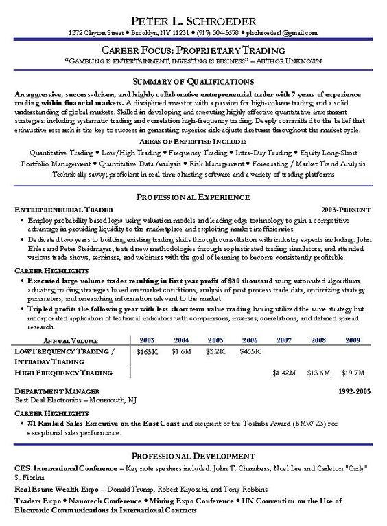 Proprietary Trading Resume Example - http://www.resumecareer.info/proprietary-trading-resume-example-19/