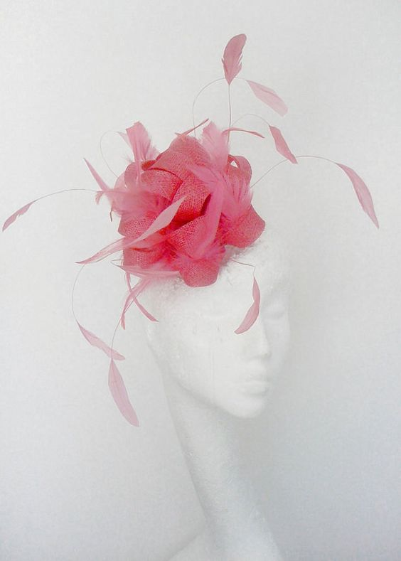 Pink Fascinator Hat for Weddings, Cocktails, Church and Derby. $80.00, via Etsy.