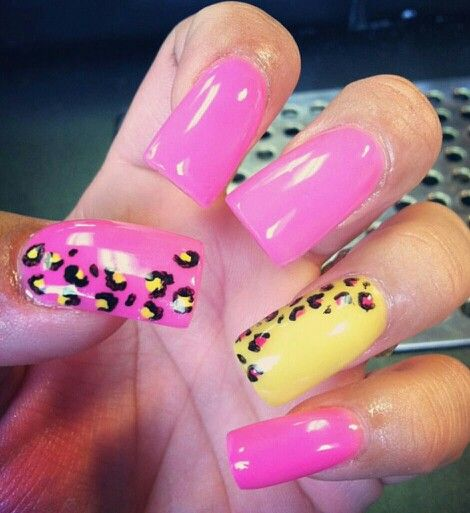 Hot Pink Galaxy Nail Products: Hot Pink & Yellow Acrylic Nails With Cheetah Accent, Tammy