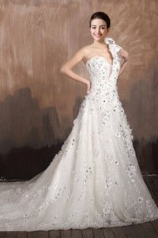 Complex One Should Crystals A Line Wedding Dress With Bow And Chapel Train JSWD0440