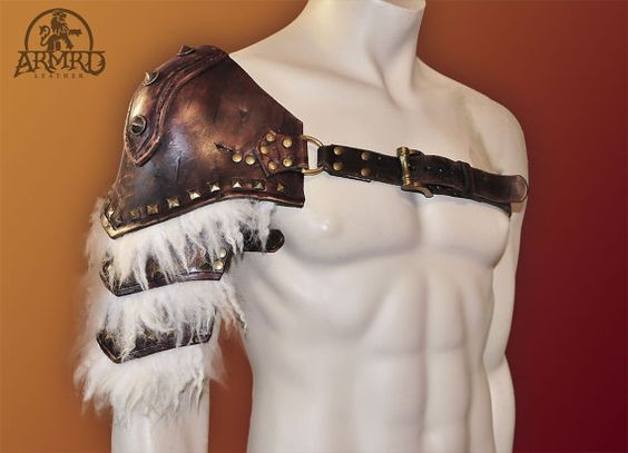 Barbarian Leather Shoulder Armour by Armrd on Etsy