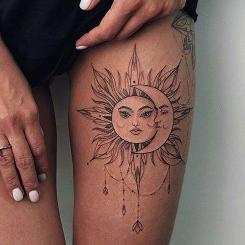 Sun and Moon Thigh Tattoos - Best Thigh Tattoos For Women: Cute Leg Tattoos on Upper, Side, and Back Thigh - Pretty Cool Female Thigh Tattoo Designs and Ideas #womentattoo #tattoosforwomen #tattooideas #tattoodesigns #girltattoos #tattoos #thightattoos