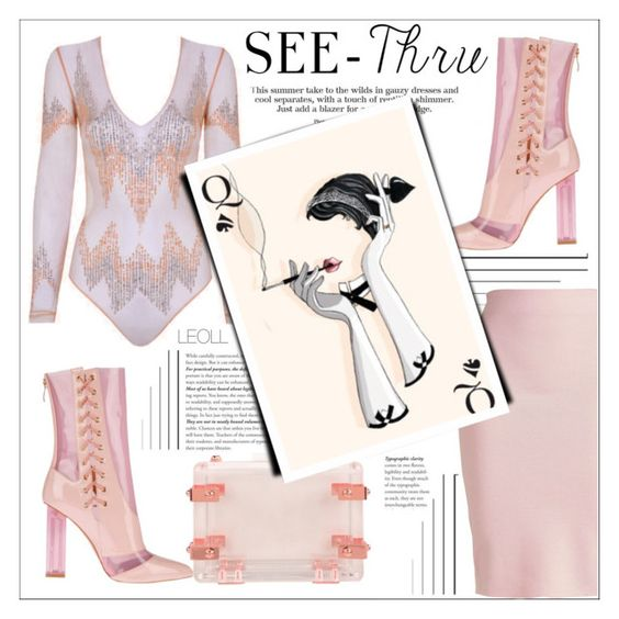 """""""It's All Clear Now: A Clear Flush Of Blush"""" by leoll ❤ liked on Polyvore featuring Winser London, Baku, CC SKYE, clear and Seethru"""