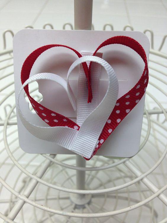3-D heart hair bow on Etsy