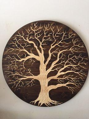 Large Oak Tree Of Life 24in Across Wood Carved Wall Art Etsy Carved Wall Art Tree Of Life Artwork Metal Tree Wall Art