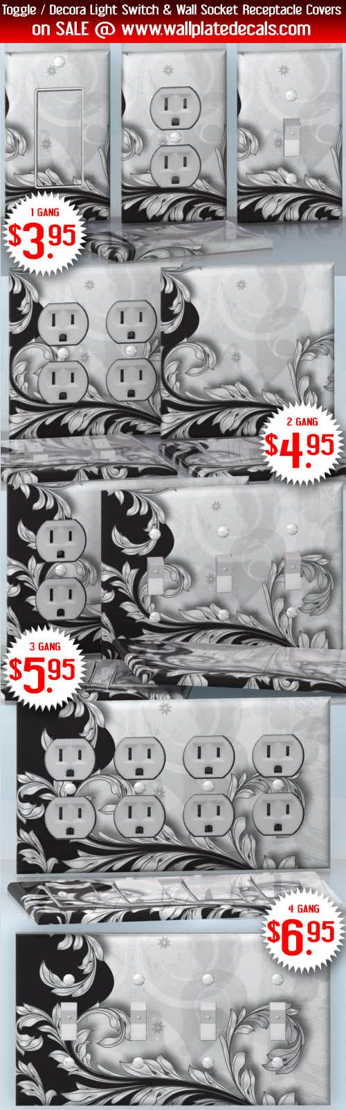 DIY Do It Yourself Home Decor - Easy to apply wall plate wraps | Black & White Harmony  Black & white background with vines  wallplate skin stickers for single, double, triple and quadruple Toggle and Decora Light Switches, Wall Socket Duplex Receptacles, and blank decals without inside cuts for special outlets | On SALE now only $3.95 - $6.95