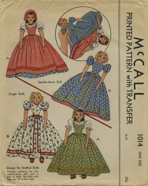 Vintage Sewing Pattern for Upside Down Doll and a Pair of ...