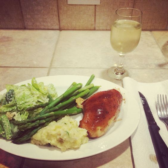 Caesar salad with lite dressing, steamed asparagus, two boiled yellow potatoes mashed with butter, salt, pepper, and green onions, baked bbq chicken (bake for 25-30 minutes at 375 and then add bbq sauce on top for another 10 minutes)