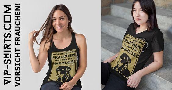Neues T-Shirt – Design für Damen ★ VORSICHT VOR DEM FRAUCHEN ★ 716 - 1G  Egal ob Tanktop oder T-Shirt, jedes Teil nur 19,95€!  #hund #dog #labrador #frauchen #herrchen #love #bekleidung #design #tshirts #shirt