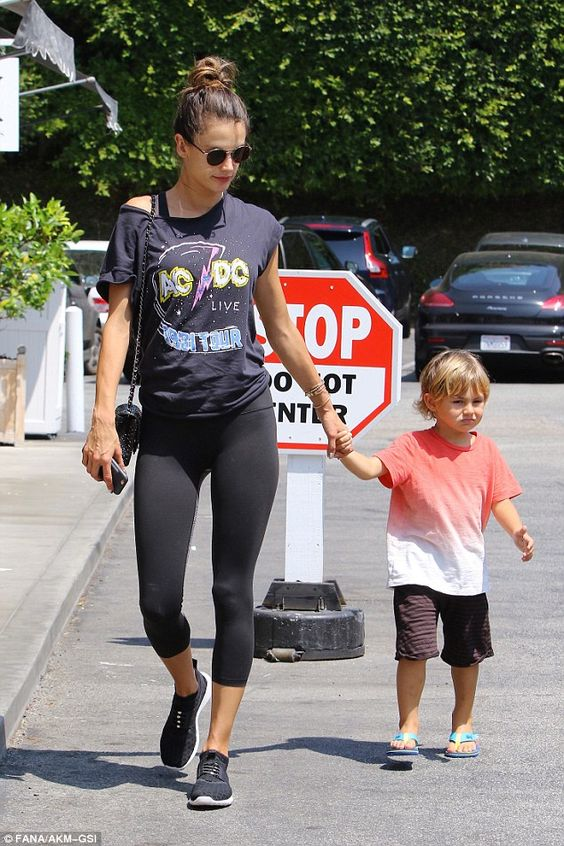Mom and me time:Alessandra Ambrosio and son Noah headed out for a spot of shopping in Brentwood, California, on Saturday