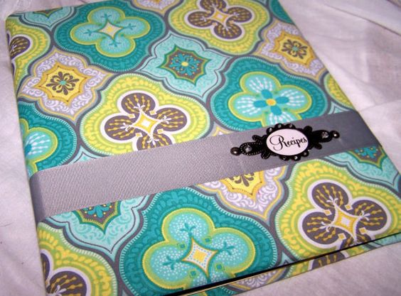 fabric covered binders | Recipe Binder and Dividers- Teal Blue, Yellow and Gray, Fabric Covered ...