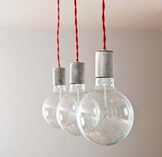hanging lamp bulbs with red cord